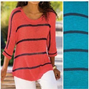 SOFT SURROUNDINGS Slouchy Venice Stripe Sweater 3X
